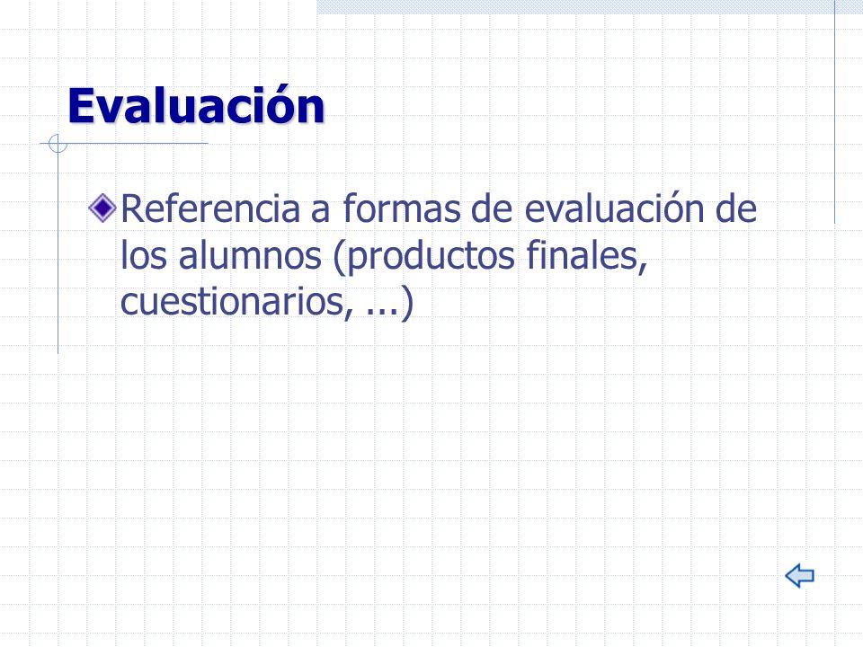 Evaluación Referencia a formas de evaluación de los alumnos (productos finales, cuestionarios,...)