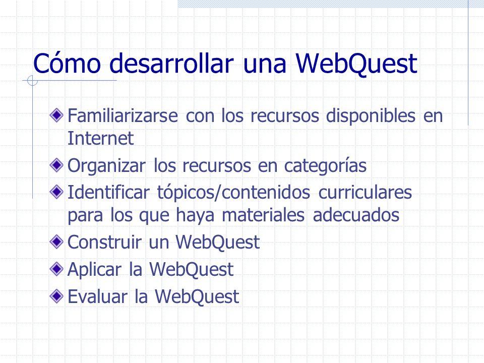 Cómo desarrollar una WebQuest Familiarizarse con los recursos disponibles en Internet Organizar los recursos en categorías Identificar tópicos/conteni