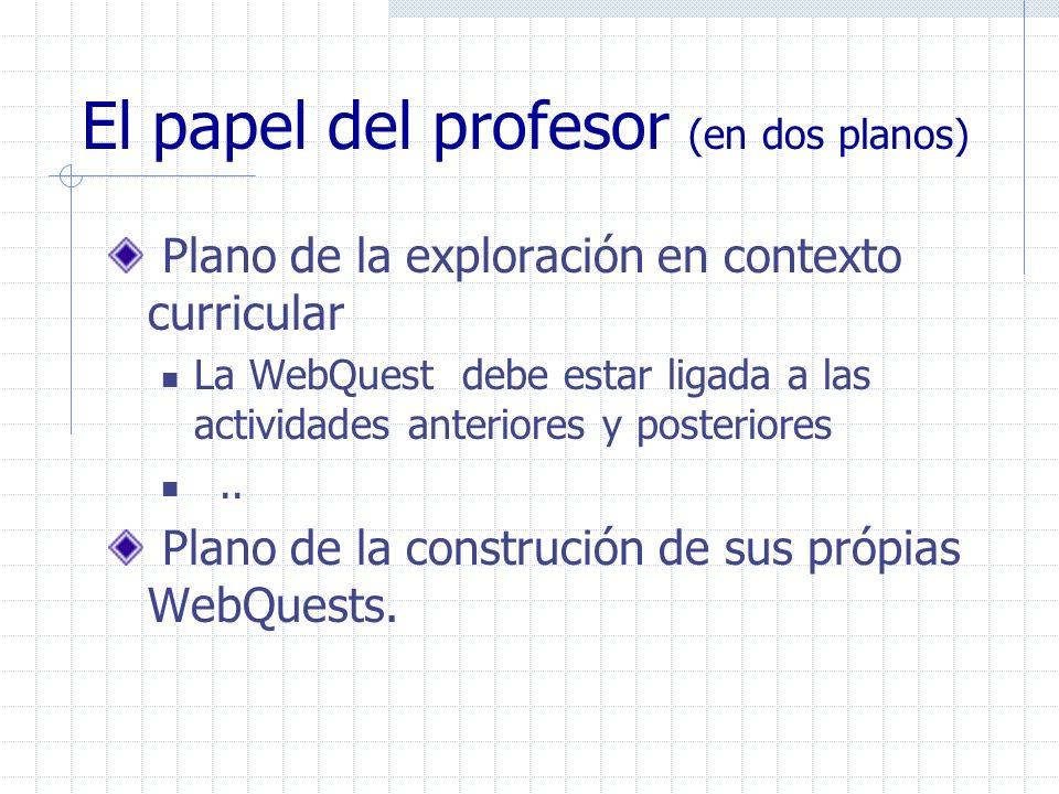 El papel del profesor (en dos planos) Plano de la exploración en contexto curricular La WebQuest debe estar ligada a las actividades anteriores y post