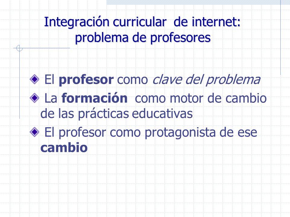 Integración curricular de internet: problema de profesores El profesor como clave del problema La formación como motor de cambio de las prácticas educ