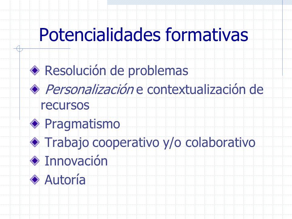 Potencialidades formativas Resolución de problemas Personalización e contextualización de recursos Pragmatismo Trabajo cooperativo y/o colaborativo In