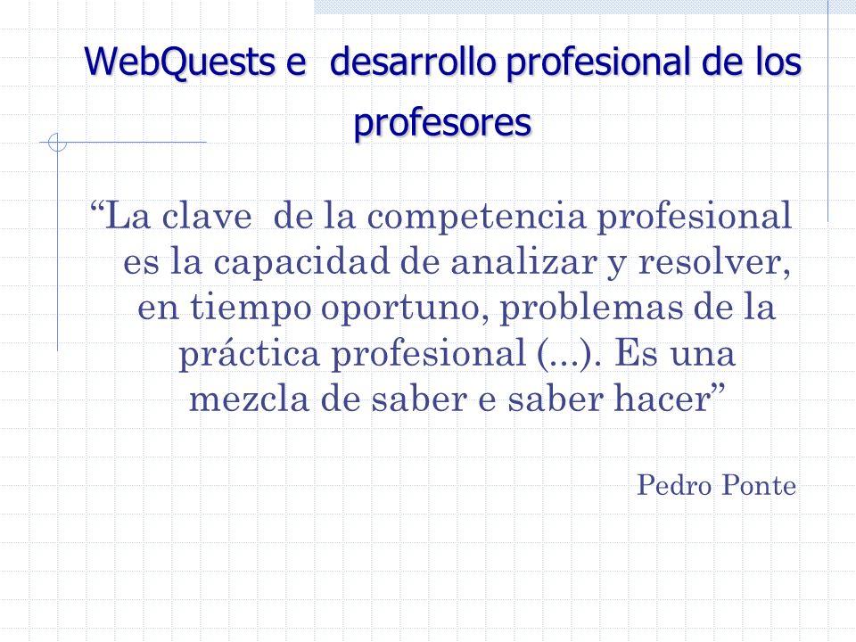 WebQuests e desarrollo profesional de los profesores La clave de la competencia profesional es la capacidad de analizar y resolver, en tiempo oportuno