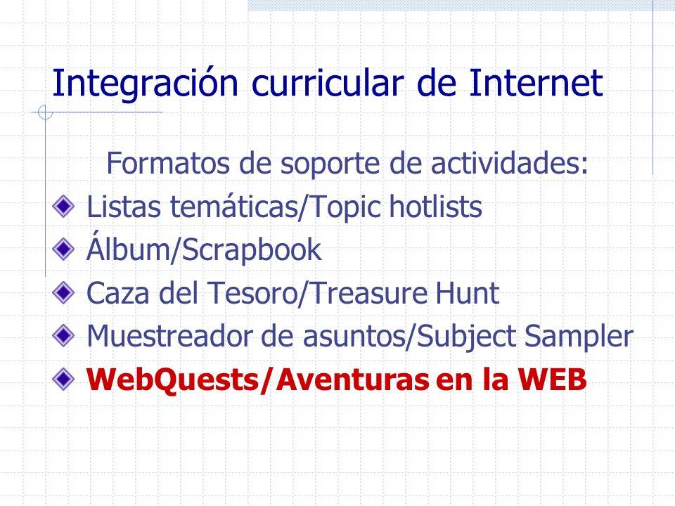 Integración curricular de Internet Formatos de soporte de actividades: Listas temáticas/Topic hotlists Álbum/Scrapbook Caza del Tesoro/Treasure Hunt M