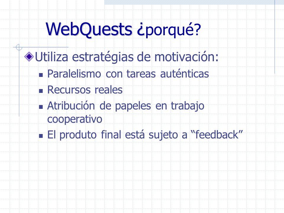 Desenvuelve capacidades cognitivas (high level thinking skills) Promueve el aprendizaje cooperativo Permite la integración de recursos actuales Orienta la navegación en Internet Es novedoso WebQuests – ¿ WebQuests – ¿ porqué?