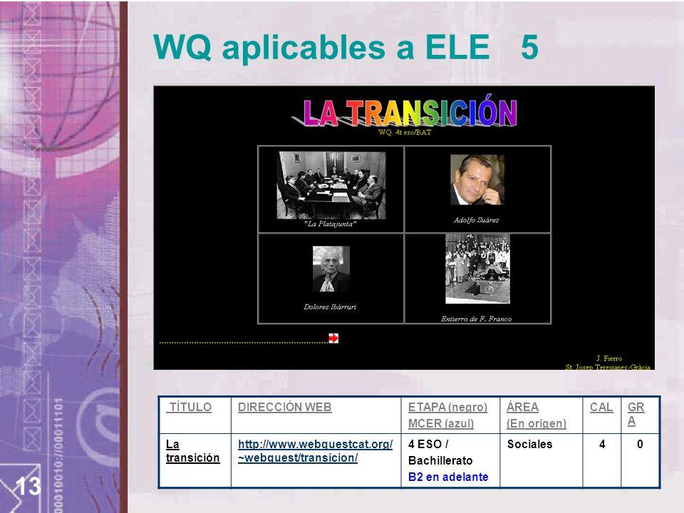 13 WQ aplicables a ELE 5 TÍTULODIRECCIÓN WEBETAPA (negro) MCER (azul) ÁREA (En origen) CALGR A La transición http://www.webquestcat.org/ ~webquest/transicion/ 4 ESO / Bachillerato B2 en adelante Sociales 4 0