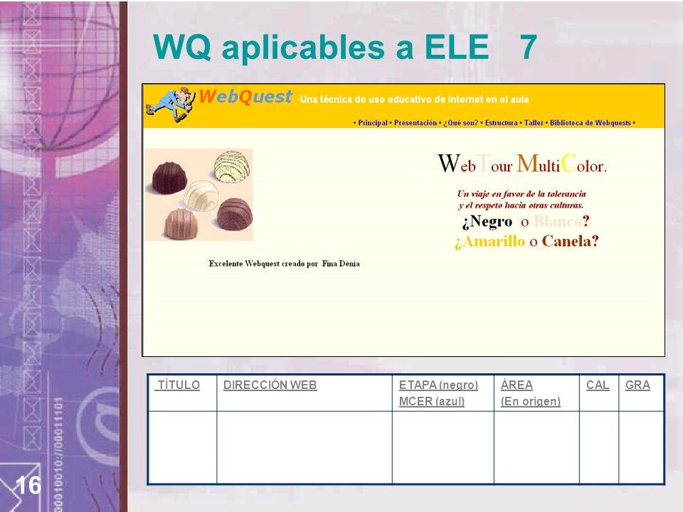 16 TÍTULODIRECCIÓN WEBETAPA (negro) MCER (azul) ÁREA (En origen) CALGRA WQ aplicables a ELE 7
