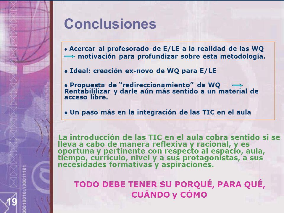 19 Conclusiones Acercar al profesorado de E/LE a la realidad de las WQ motivación para profundizar sobre esta metodología.