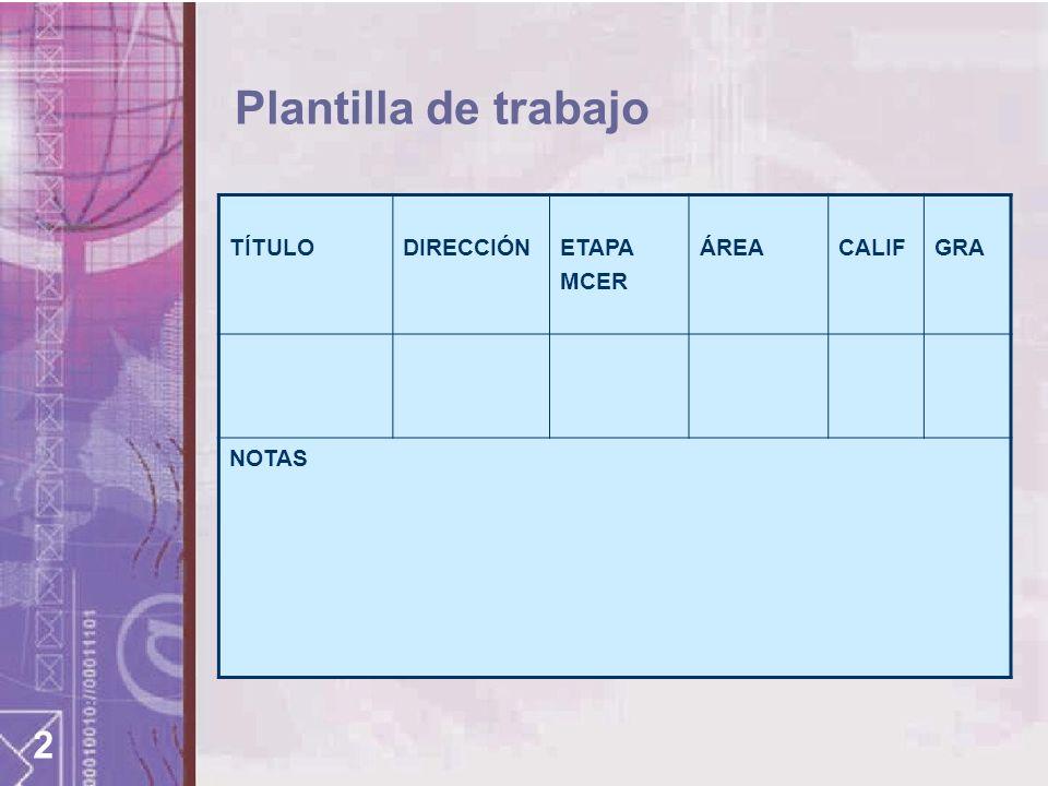 2 Plantilla de trabajo TÍTULODIRECCIÓNETAPA MCER ÁREACALIFGRA NOTAS