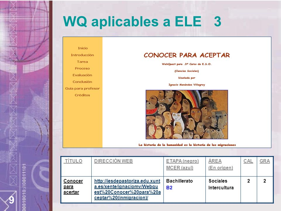 9 WQ aplicables a ELE 3 TÍTULODIRECCIÓN WEBETAPA (negro) MCER (azul) ÁREA (En origen) CALGRA Conocer para acertar http://iesdepastoriza.edu.xunt a.es/