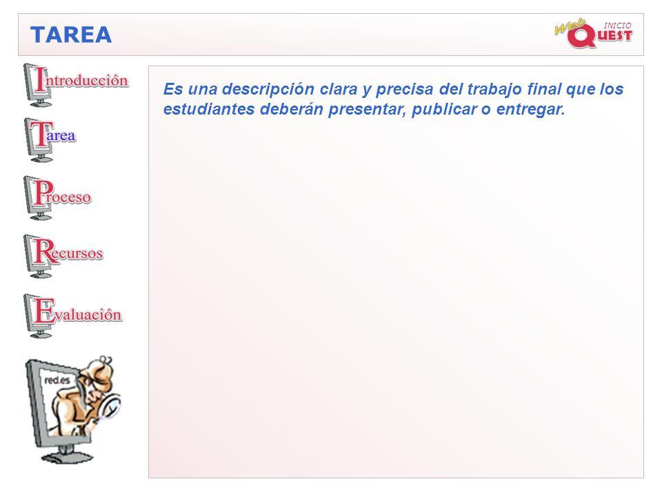 INICIO TAREA Es una descripción clara y precisa del trabajo final que los estudiantes deberán presentar, publicar o entregar.