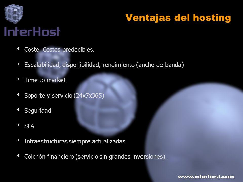 www.interhost.com Ventajas del hosting Coste. Costes predecibles. Escalabilidad, disponibilidad, rendimiento (ancho de banda) Time to market Soporte y