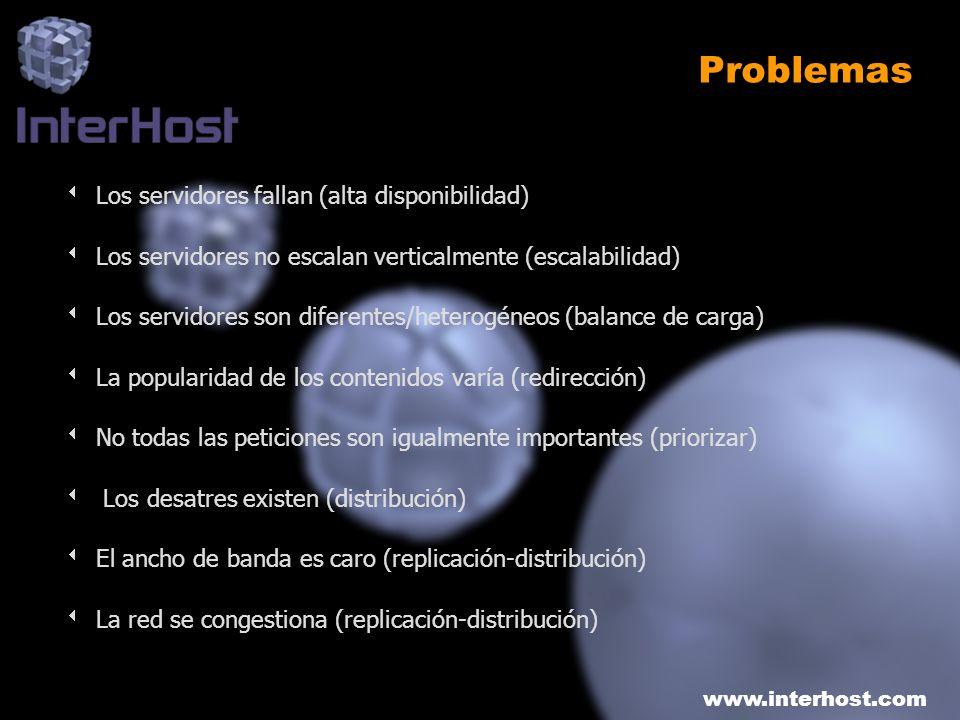 www.interhost.com Problemas Los servidores fallan (alta disponibilidad) Los servidores no escalan verticalmente (escalabilidad) Los servidores son dif