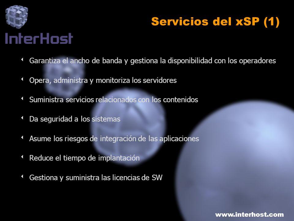 www.interhost.com Servicios del xSP (1) Garantiza el ancho de banda y gestiona la disponibilidad con los operadores Opera, administra y monitoriza los