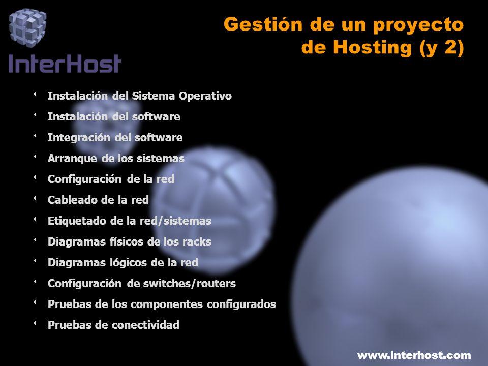 www.interhost.com Gestión de un proyecto de Hosting (y 2) Instalación del Sistema Operativo Instalación del software Integración del software Arranque
