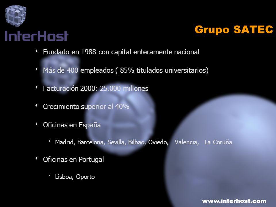 www.interhost.com Grupo SATEC Fundado en 1988 con capital enteramente nacional Más de 400 empleados ( 85% titulados universitarios) Facturación 2000: