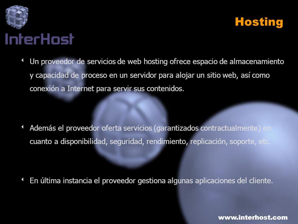 www.interhost.com Gestión de un proyecto de Hosting (y 2) Instalación del Sistema Operativo Instalación del software Integración del software Arranque de los sistemas Configuración de la red Cableado de la red Etiquetado de la red/sistemas Diagramas físicos de los racks Diagramas lógicos de la red Configuración de switches/routers Pruebas de los componentes configurados Pruebas de conectividad