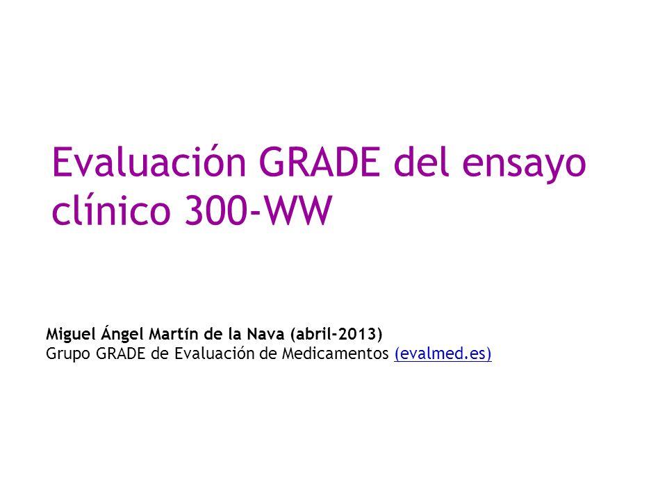 Evaluación GRADE del ensayo clínico 300-WW Miguel Ángel Martín de la Nava (abril-2013) Grupo GRADE de Evaluación de Medicamentos (evalmed.es)