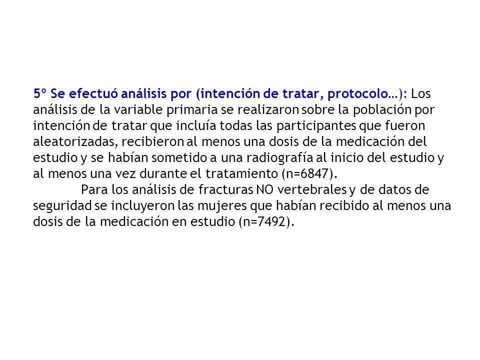5º Se efectuó análisis por (intención de tratar, protocolo…): Los análisis de la variable primaria se realizaron sobre la población por intención de t