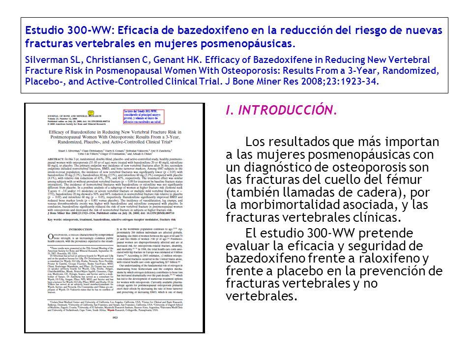 Estudio 300-WW: Eficacia de bazedoxifeno en la reducción del riesgo de nuevas fracturas vertebrales en mujeres posmenopáusicas. Silverman SL, Christia