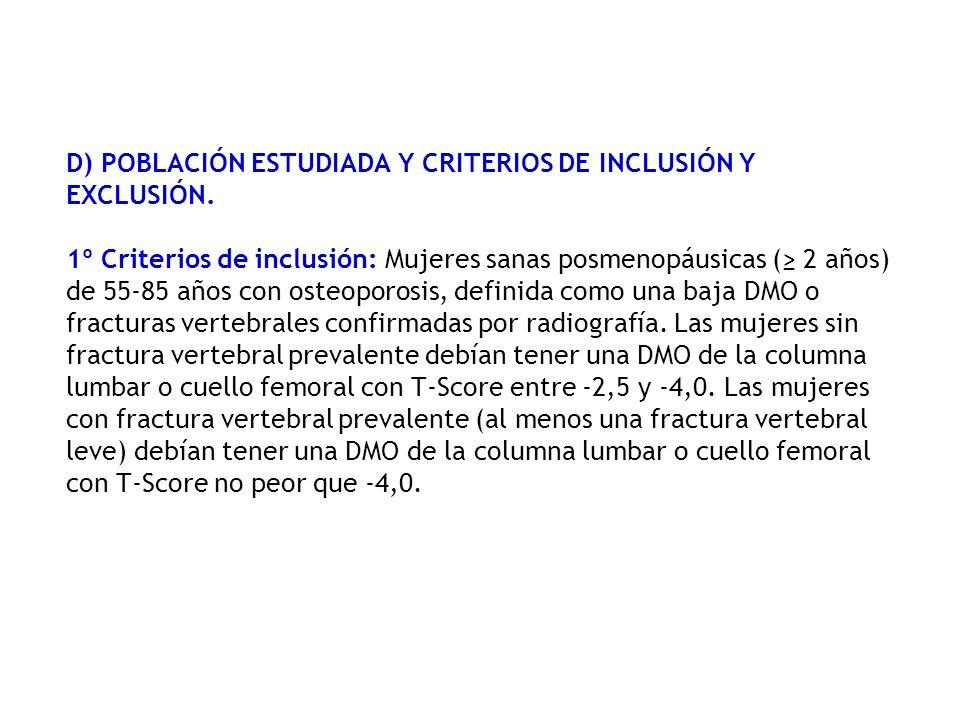 D) POBLACIÓN ESTUDIADA Y CRITERIOS DE INCLUSIÓN Y EXCLUSIÓN. 1º Criterios de inclusión: Mujeres sanas posmenopáusicas ( 2 años) de 55-85 años con oste