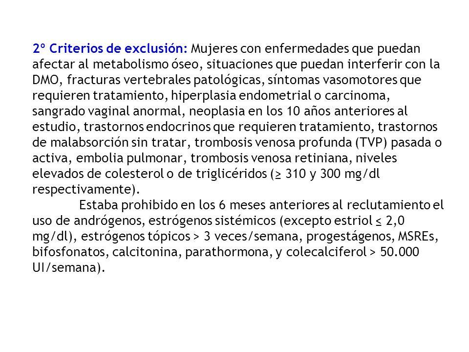 2º Criterios de exclusión: Mujeres con enfermedades que puedan afectar al metabolismo óseo, situaciones que puedan interferir con la DMO, fracturas ve