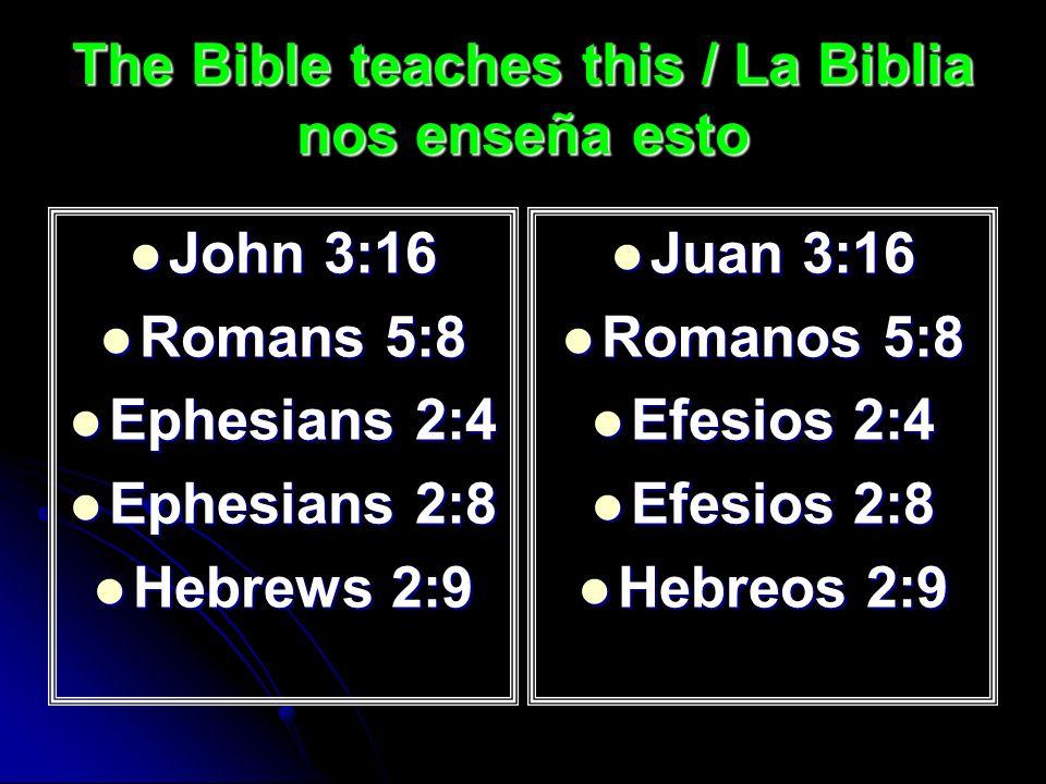 The Bible teaches this / La Biblia nos enseña esto John 3:16 John 3:16 Romans 5:8 Romans 5:8 Ephesians 2:4 Ephesians 2:4 Ephesians 2:8 Ephesians 2:8 Hebrews 2:9 Hebrews 2:9 Juan 3:16 Juan 3:16 Romanos 5:8 Romanos 5:8 Efesios 2:4 Efesios 2:4 Efesios 2:8 Efesios 2:8 Hebreos 2:9 Hebreos 2:9