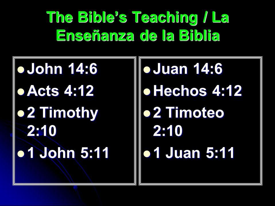 The Bibles Teaching / La Enseñanza de la Biblia John 14:6 John 14:6 Acts 4:12 Acts 4:12 2 Timothy 2:10 2 Timothy 2:10 1 John 5:11 1 John 5:11 Juan 14:6 Juan 14:6 Hechos 4:12 Hechos 4:12 2 Timoteo 2:10 2 Timoteo 2:10 1 Juan 5:11 1 Juan 5:11