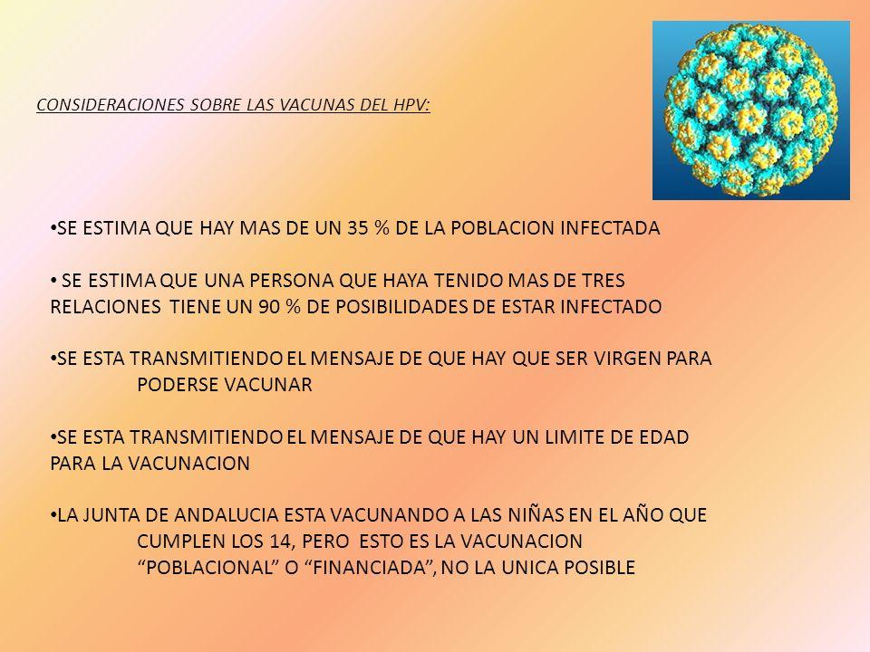 CONSIDERACIONES SOBRE LAS VACUNAS DEL HPV: SE ESTIMA QUE HAY MAS DE UN 35 % DE LA POBLACION INFECTADA SE ESTIMA QUE UNA PERSONA QUE HAYA TENIDO MAS DE