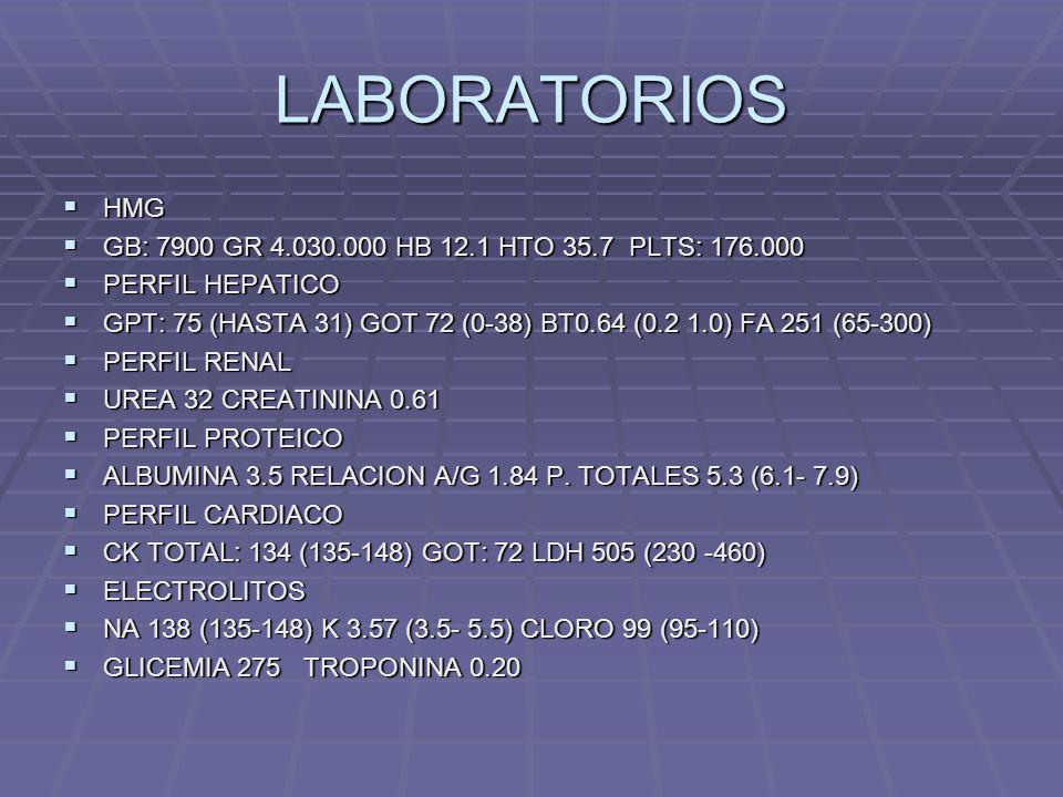 LABORATORIOS HMG HMG GB: 7900 GR 4.030.000 HB 12.1 HTO 35.7 PLTS: 176.000 GB: 7900 GR 4.030.000 HB 12.1 HTO 35.7 PLTS: 176.000 PERFIL HEPATICO PERFIL
