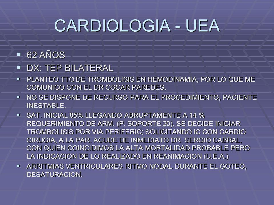 CARDIOLOGIA - UEA 62 AÑOS 62 AÑOS DX: TEP BILATERAL DX: TEP BILATERAL PLANTEO TTO DE TROMBOLISIS EN HEMODINAMIA, POR LO QUE ME COMUNICO CON EL DR OSCA