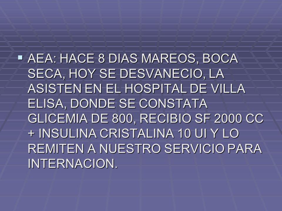 AEA: HACE 8 DIAS MAREOS, BOCA SECA, HOY SE DESVANECIO, LA ASISTEN EN EL HOSPITAL DE VILLA ELISA, DONDE SE CONSTATA GLICEMIA DE 800, RECIBIO SF 2000 CC