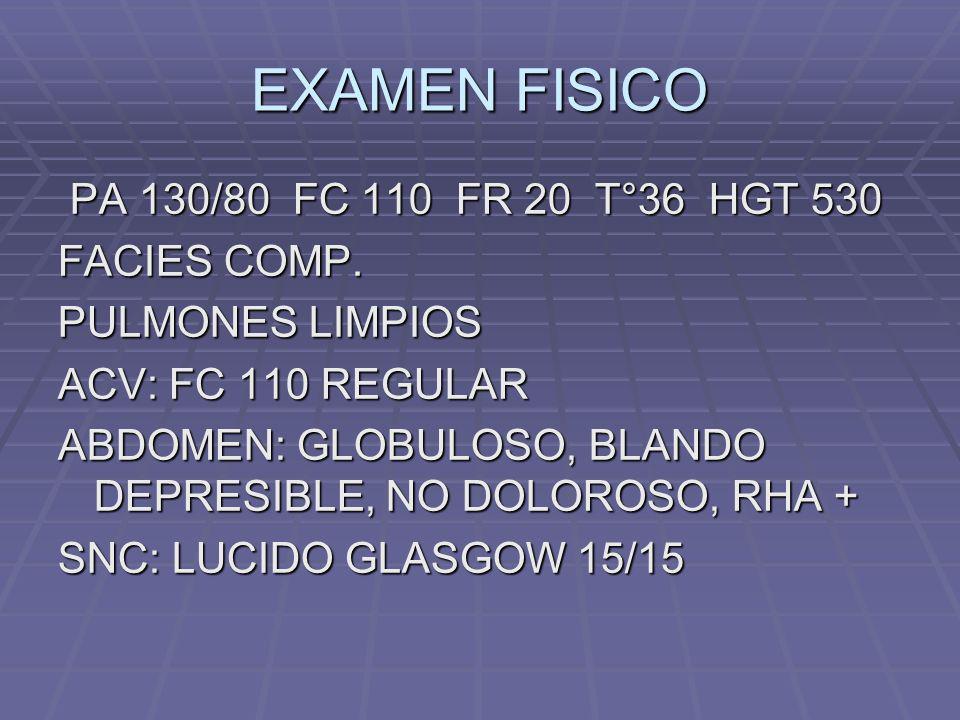 EXAMEN FISICO PA 130/80 FC 110 FR 20 T°36 HGT 530 PA 130/80 FC 110 FR 20 T°36 HGT 530 FACIES COMP. PULMONES LIMPIOS ACV: FC 110 REGULAR ABDOMEN: GLOBU