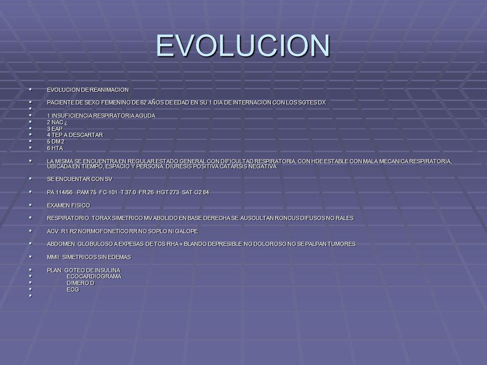 EVOLUCION EVOLUCION DE REANIMACION EVOLUCION DE REANIMACION PACIENTE DE SEXO FEMENINO DE 62 AÑOS DE EDAD EN SU 1 DIA DE INTERNACION CON LOS SGTES DX P