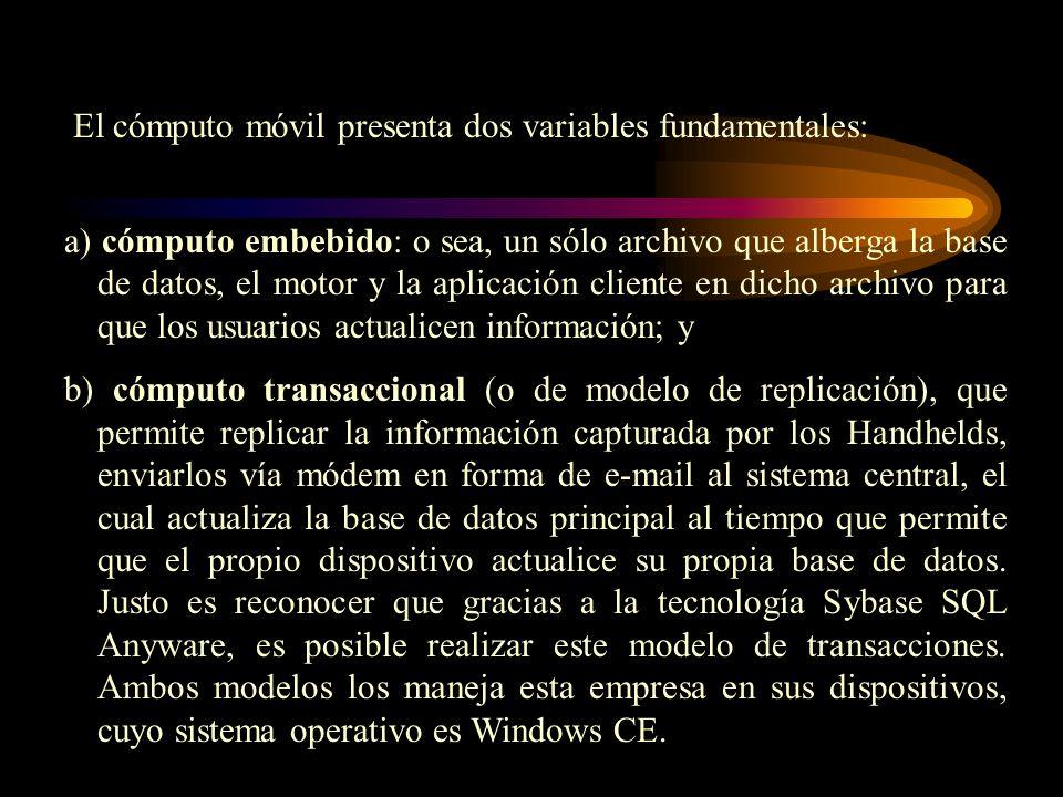 a) cómputo embebido: o sea, un sólo archivo que alberga la base de datos, el motor y la aplicación cliente en dicho archivo para que los usuarios actu