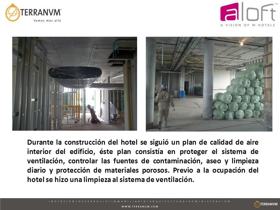 Durante la construcción del hotel se siguió un plan de calidad de aire interior del edificio, éste plan consistía en proteger el sistema de ventilació