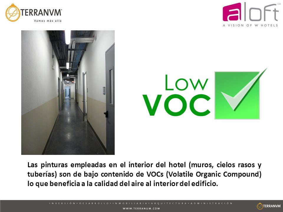 Las pinturas empleadas en el interior del hotel (muros, cielos rasos y tuberías) son de bajo contenido de VOCs (Volatile Organic Compound) lo que bene