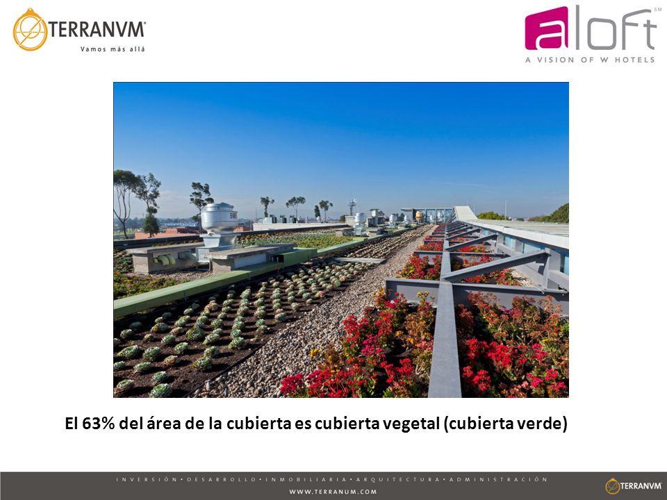 Para la vegetación del hotel se emplearon especies nativas/adaptadas al clima de Bogotá que no necesitan sistema de riego y son de bajo mantenimiento.