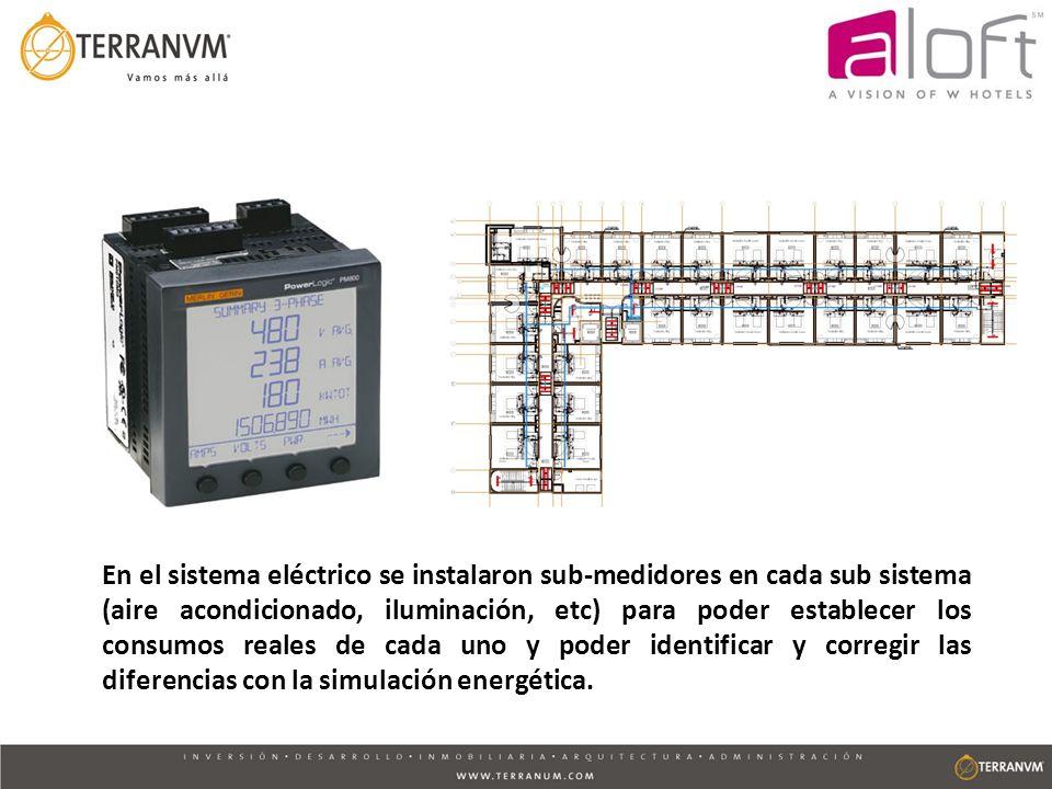 En el sistema eléctrico se instalaron sub-medidores en cada sub sistema (aire acondicionado, iluminación, etc) para poder establecer los consumos real