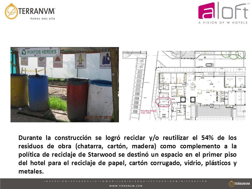 Durante la construcción se logró reciclar y/o reutilizar el 54% de los residuos de obra (chatarra, cartón, madera) como complemento a la política de r