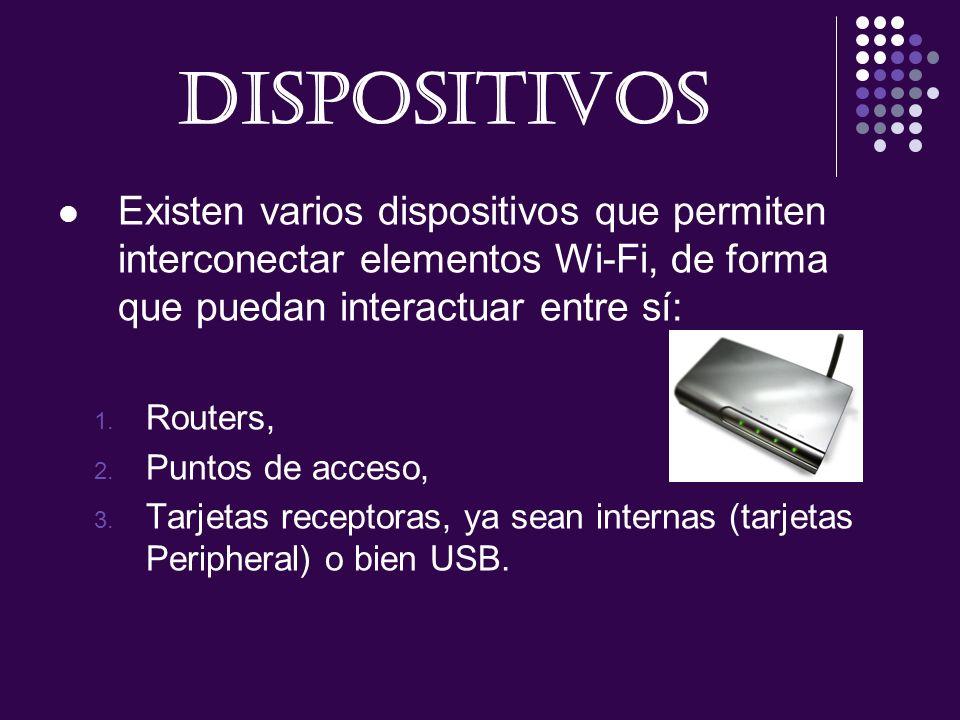 DISPOSITIVOS Existen varios dispositivos que permiten interconectar elementos Wi-Fi, de forma que puedan interactuar entre sí: 1. Routers, 2. Puntos d