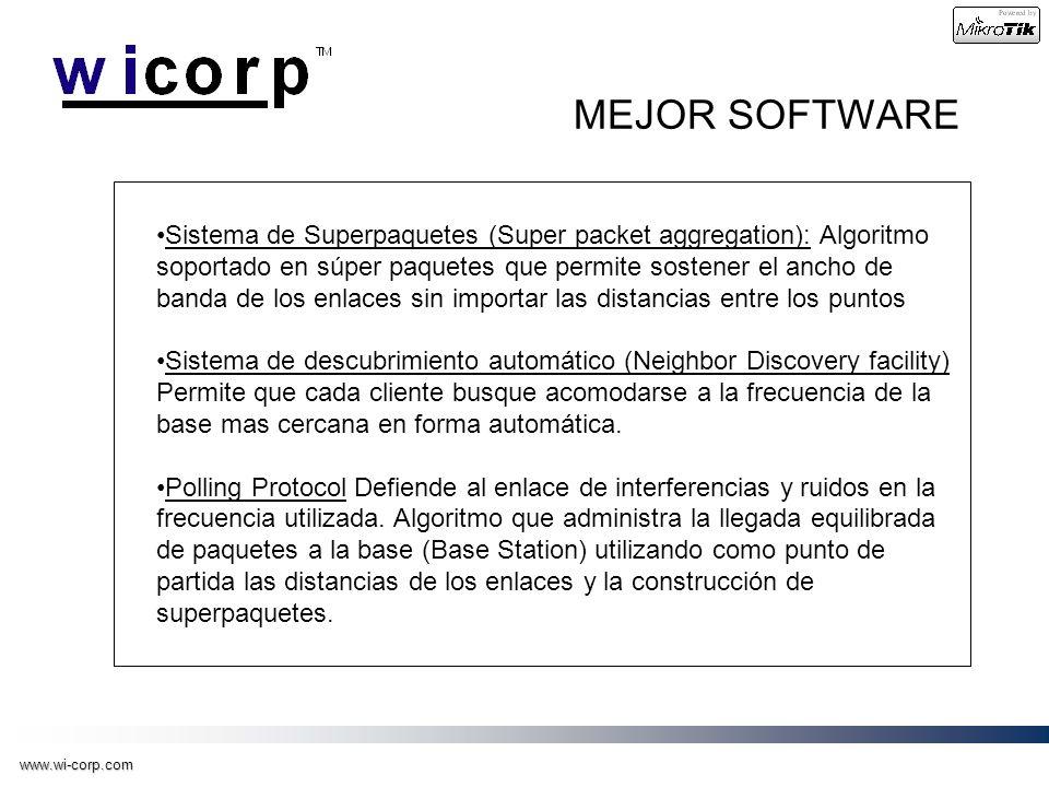 www.wi-corp.com MEJOR SOFTWARE Sistema de Superpaquetes (Super packet aggregation): Algoritmo soportado en súper paquetes que permite sostener el anch