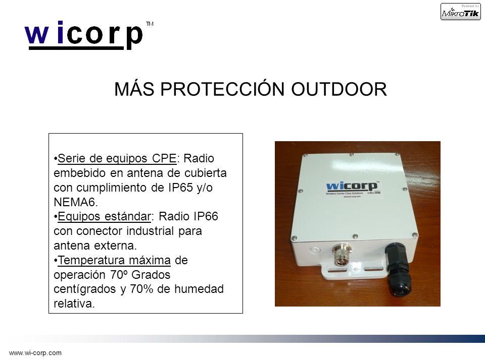 www.wi-corp.com MÁS PROTECCIÓN OUTDOOR Serie de equipos CPE: Radio embebido en antena de cubierta con cumplimiento de IP65 y/o NEMA6. Equipos estándar