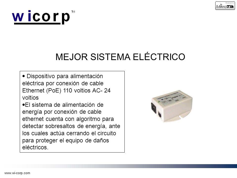 www.wi-corp.com MEJOR SISTEMA ELÉCTRICO Dispositivo para alimentación eléctrica por conexión de cable Ethernet (PoE) 110 voltios AC- 24 voltios El sis