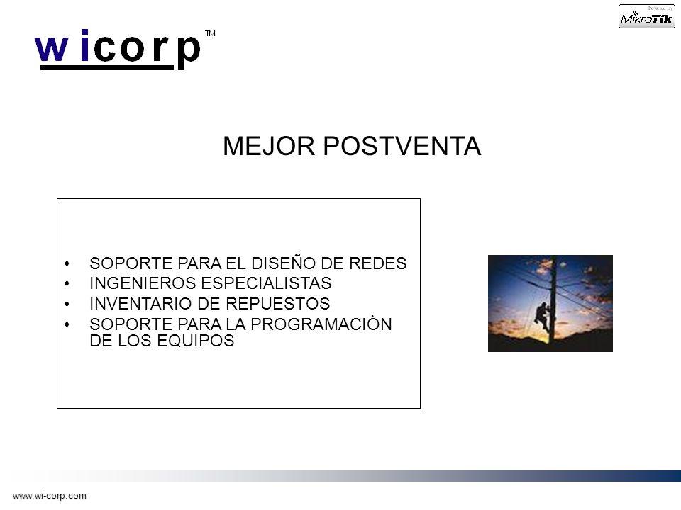 www.wi-corp.com MEJOR POSTVENTA SOPORTE PARA EL DISEÑO DE REDES INGENIEROS ESPECIALISTAS INVENTARIO DE REPUESTOS SOPORTE PARA LA PROGRAMACIÒN DE LOS E