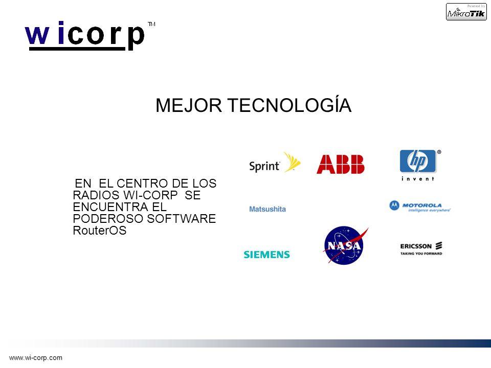www.wi-corp.com MEJOR TECNOLOGÍA EN EL CENTRO DE LOS RADIOS WI-CORP SE ENCUENTRA EL PODEROSO SOFTWARE RouterOS