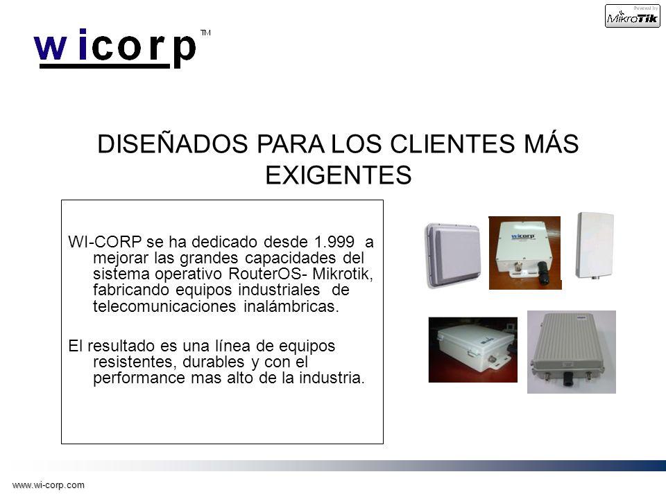 www.wi-corp.com WI-CORP se ha dedicado desde 1.999 a mejorar las grandes capacidades del sistema operativo RouterOS- Mikrotik, fabricando equipos indu