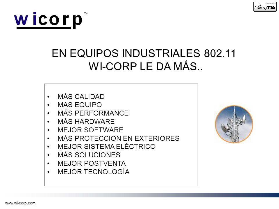 www.wi-corp.com EN EQUIPOS INDUSTRIALES 802.11 WI-CORP LE DA MÁS.. MÁS CALIDAD MAS EQUIPO MÁS PERFORMANCE MÁS HARDWARE MEJOR SOFTWARE MÁS PROTECCIÓN E