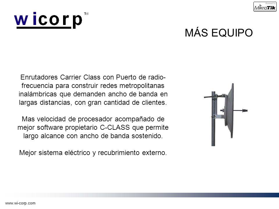 www.wi-corp.com MÁS EQUIPO Enrutadores Carrier Class con Puerto de radio- frecuencia para construir redes metropolitanas inalámbricas que demanden anc