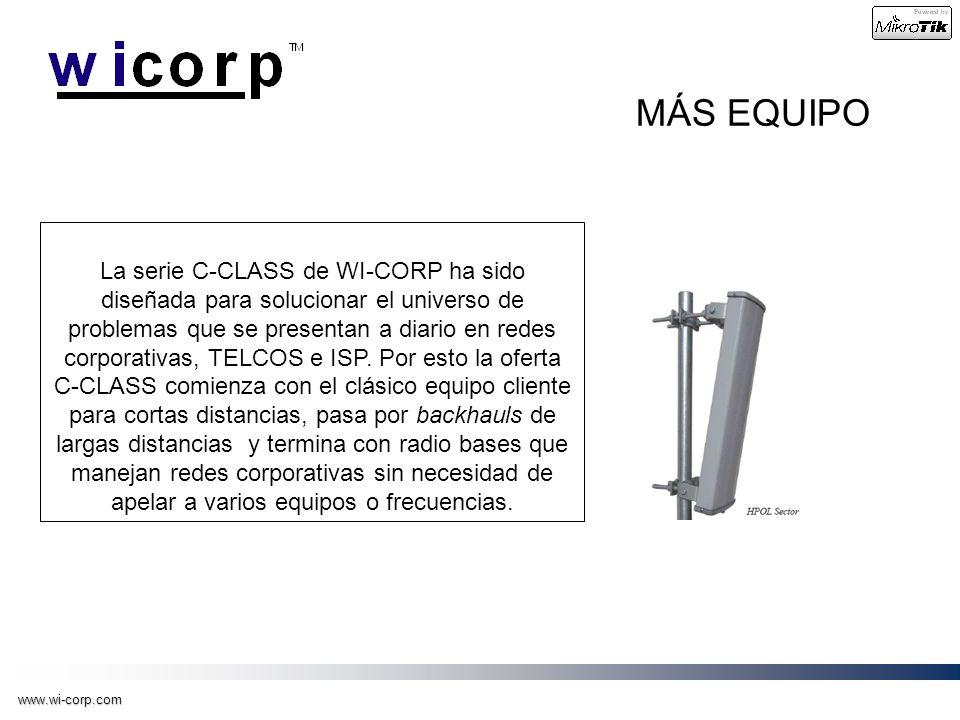 www.wi-corp.com MÁS EQUIPO La serie C-CLASS de WI-CORP ha sido diseñada para solucionar el universo de problemas que se presentan a diario en redes co