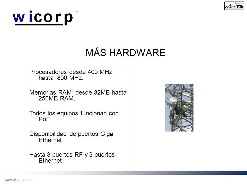 www.wi-corp.com MÁS HARDWARE Procesadores desde 400 MHz hasta 800 MHz. Memorias RAM desde 32MB hasta 256MB RAM. Todos los equipos funcionan con PoE Di